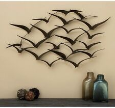"Bird Flock Wall Sculpture 47"" Hanging Dimensional Art Decor Metal Bronze Finish"