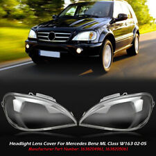 Left+Right Headlight Lampsahde Lens Cover For Mercedes Benz W163 ML Class 02-05