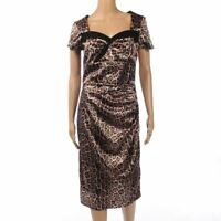TAILOR MADE Dress Animal Print Stretch Satin Shift Size US 10 / UK 14 NZ 139