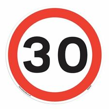 30 Mph Speed Signs [10 X Pack - 150mm W x 150mm H White Background ] Ideal Fo...