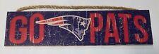 "New England Patriots - Go Pats - Slogan Distressed Wood Sign - NEW 4"" x 16"""