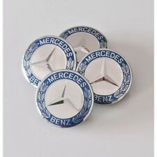 4x75 mm Mercedes-Benz blau Felgenkappen Nabendeckel - Neu