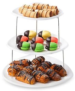 Plastic Dessert Plate Serving Tray 3-Tier Extra Large Elegant Style Reusable