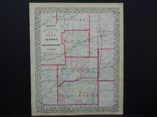 Illinois, Antique Map, 1869 Counties of Bond, Clinton, & Washington M9#72