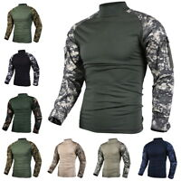 Mens Army Military Battle Combat Camo Tactical Heat Resistant Uniform Shirt