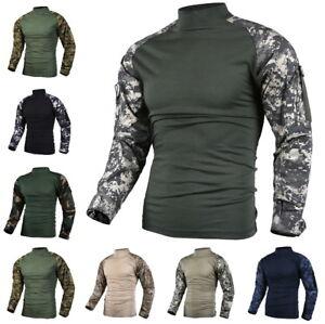 Mens Army Military Battle Combat Camo Tactical Heat Resistant Uniform Shirt