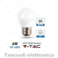 Lampadina led V-TAC 6W = 40W E27 bianco naturale 4500K VT-1879 minigolobo G45