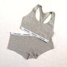 Calvin Klein 2 pc Lingerie Grey Bralette Bra and Boyshort Underwear Set S M L