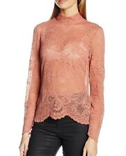 VILA CLOTHES Women's Viloras L/S Lace Noos Long Sleeve Top Size L RRP£32 (00270)