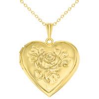 "Gold Tone Heart Rose Flower Photo Locket Love Pendant Necklace 19"""
