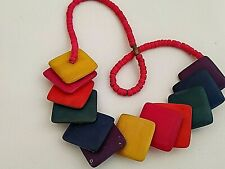 Wooden Necklace Multicoloured Pink Yellow Green