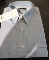 NEW MENS BLUE CHECK BUSINESS SHORT SLEEVE DRESS SHIRT SIZE 39,40,41,45,48