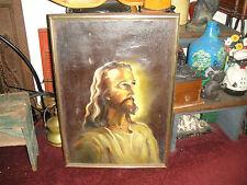 Antique Jesus Oil Painting On Canvas-Signed L Schrelem-Framed-Christian Religion