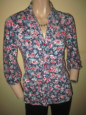 Per Una ~ Navy Blue Pink & White Floral Jersey Viscose 3/4 Sleeved Shirt Size 10