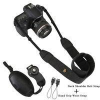 Black Digital Camera Neck Shoulder Belt Strap SLR Camera Hand Grip Wrist Strap