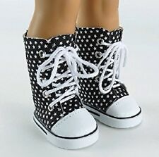 """Black Stars Sneakers Boots for 18"""" American Girl or Boy Doll Clothes FUN"""