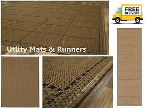 Checked Flatweave Utility Mats Kitchen Rugs Runners Natural Brown Anti Slip Gel