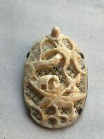 superbe pendentif argent massif xix ème chine Chinese médaillon ajouré pagode