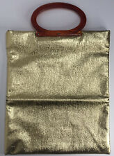 Vintage Gold Lame Ladies Pride Fold Over Clutch Purse With Amber Lucite Handles