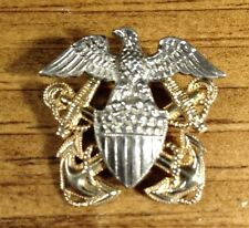 World War II Navy Insignia Eagle & Anchor Sterling Silver & Gold Filled Pin