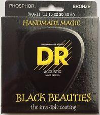 DR BKA-11 Black Beauties Coated Ph Bronze Acoustic Guitar Strings 11-50 med-lite