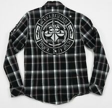 Affliction Black Premium Men Slim Live Fast Plaid Long Sleeve Button Shirt Large