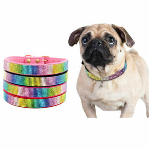 Pet Dog Collars Bling Colorful Rhinestone Soft Suede Leather Puppy Cat Necklaces