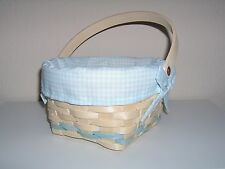 Spring Basket Woven Blue Checked Gingham Cloth Liner Baby Easter