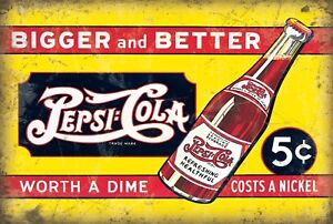 Pepsi Cola 5 Cents - Metal Wall Sign (3 sizes - Small / Large and Jumbo)