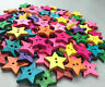 NEW Wooden Colorful stars Sewing Buttons decoration 2-holes Scrapbooking 22mm