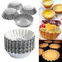 100pcs Egg Tart Aluminum Cupcake Cake Cookie Mold Lined Mould Tin TE QeOOd