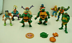 Lot Set Of 8 Vintage 80s - 90s TMNT Action Figure Toys & Some Accessories