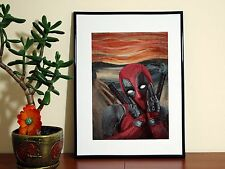 Deadpool Scream Painting - A4 Glossy Poster - FREE Shipping