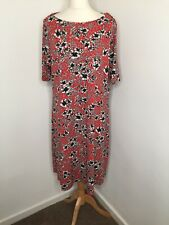 Marks and Spencer Collection Dress 20 Red Floral Stretch Jersey Feel Knee Length