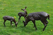 bronze faon ou bébé Cerf BROUTANT Bronze Cerf sculpture chevreuil cerf faon