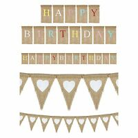 Natural Hessian Shabby Chic Happy Birthday & Heart Print Flag Bunting -Twin Pack