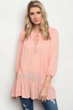 Boutique Style Ladies Tunic Top by Entro Color Peach  Size Medium