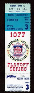1977 NLCS Game 3 Ticket  Stub Los Angeles Dodgers at Philadelphia Phillies