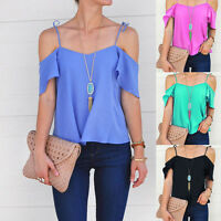 Sexy Women's Loose Top Off Shoulder Blouse Ladies Summer Casual Tops T-Shirt