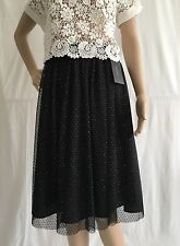 ZARA BLACK TULLE GOLD SPARKLY KNEE LENGHT SKIRT WITH ELASTICATED BACK WAIST XS