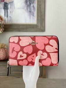 Coach 91594 Medium Zip Around Wallet With Coach Heart Print $198