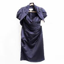 White Rose - Lapis Purple Satin 2-Piece Dress with Bolero Jacket - Size 12