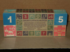 UNCLE GOOSE 10 Wood Embossed Count & Stack Blocks Age 2+ (Discontinued & Rare)