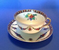 Noritake Tea Cup And Saucer - Dark Red Borders And  Fruit - Gold Rims - Japan