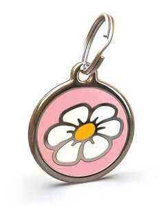 Pet Dog Cat ID Engraved Name Tag Personalised Stainless Steel Pink Daisy Flower