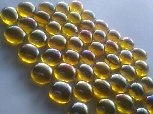 Golden Yellow Luster Crystal Glass Gems - 1/2 inch - 25 count - Mosaic Tiles