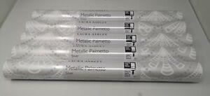 Laura Ashley Wallpaper Metallic Palmetto Silver Five (5) Rolls Same Batch NEW