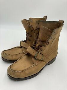 Polo by Ralph Lauren Brown Leather Ranger Moto Boots Size 9.5 D 1934 Buckle Lace