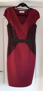Dorothy Perkins 12 Maroon Black Cap Sleeve Floral Lace Knee Length Shirt Dress