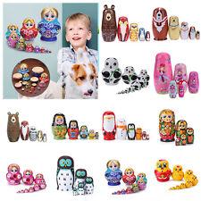 5/10PCS Russian Matryoshka Babushka Wooden Craft Hand Painted Nesting Dolls UK